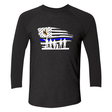 Wyoming Cowboys - Police - Distressed Horizontal Flag Shirt - T-Shirt - Official