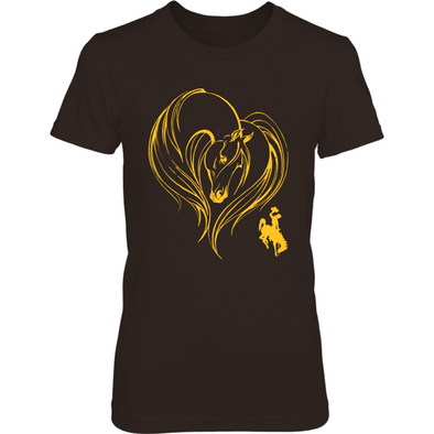 Wyoming Cowboys - Horse Heart - T-Shirt - Officially Licensed Sports Apparel