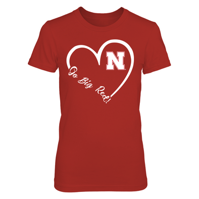Nebraska Cornhuskers - 3/4th Heart Slogan - Go Big - T-Shirt - Official Apparel