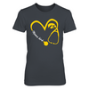 Iowa Hawkeyes - Heart 3/4 - Next Level Women's Junior Fit Premium T-Shirt - Official