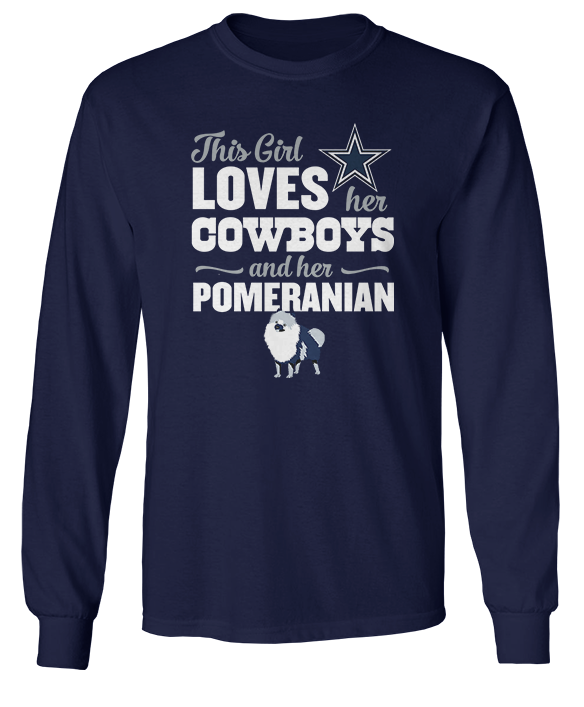 This Girl Loves Her Dog (Pomeranian) - Dallas Cowboys