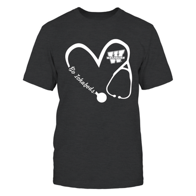 Washburn Ichabods - Heart 3/4 - Nurse - Next Level Women's Junior Fit Premium T-Shirt - Official