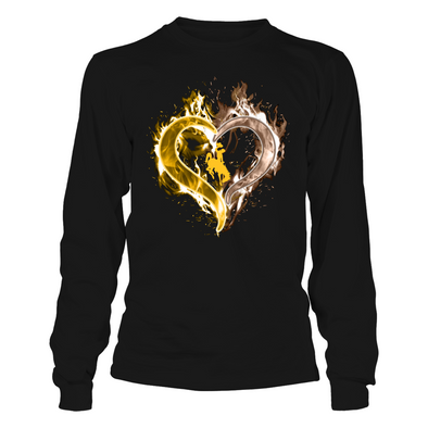 Wyoming Cowboys - Ice Heart Outline - T-Shirt - Officially Licensed Apparel