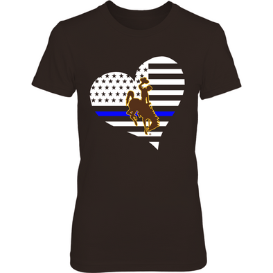 Wyoming Cowboys - Police - Thin Blue Line - Heart - T-Shirt - Official Apparel