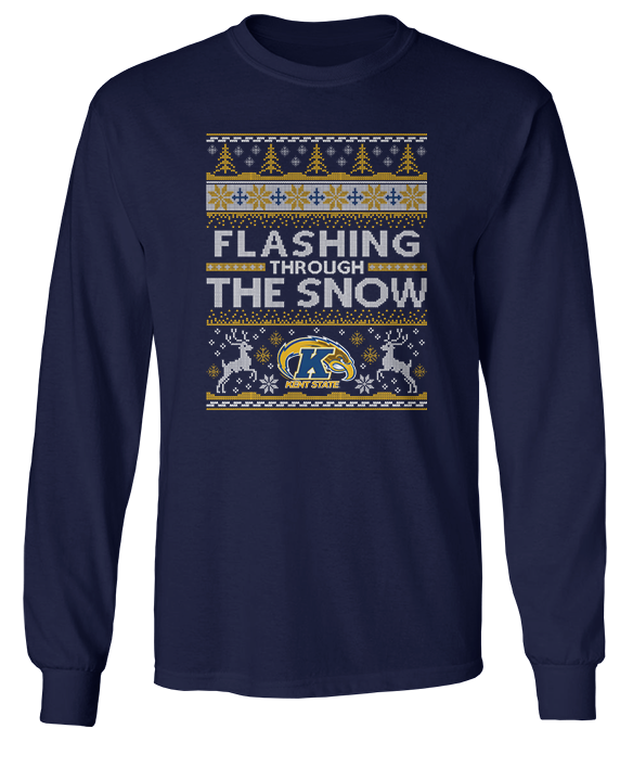Flashing Through The Snow (Ugly Christmas Sweater)  - Kent State Golden Flashes