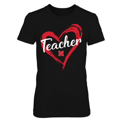 Nebraska Cornhuskers - Drawing Heart - Teacher - Next Level Women's Junior Fit Premium T-Shirt - Official