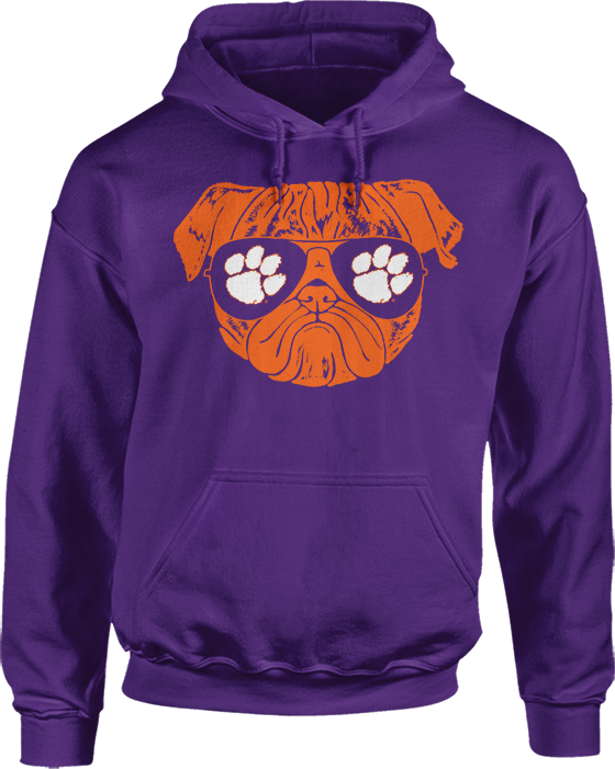 Pug Life (Pug with Logo Sunglasses) - Clemson Tigers