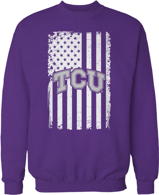 Show Your Pride - TCU Horned Frogs (Logo Over American Flag)