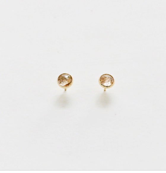 Porcelain and Stone - Quartz Stone Rutilated Heritage Studs