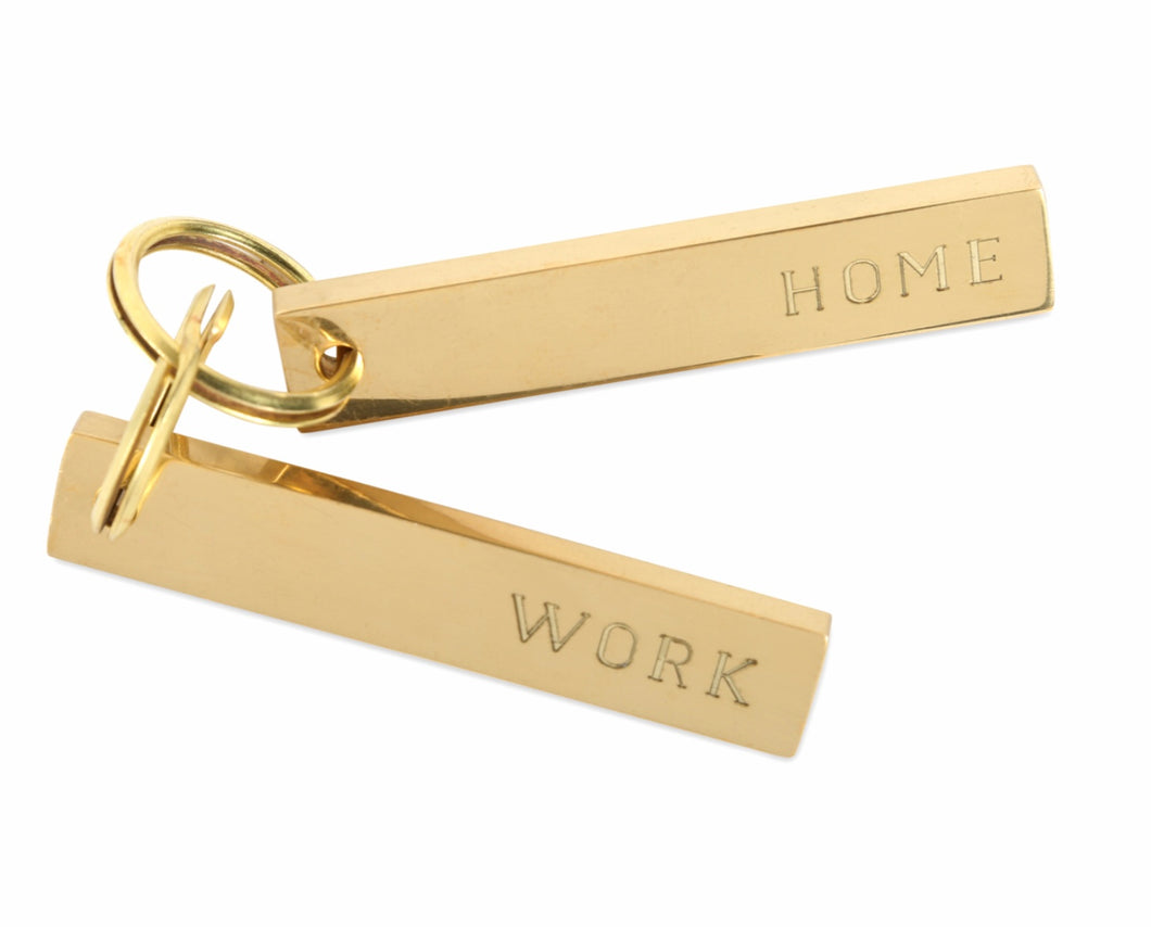 Brass Home & Work Keychain Pair