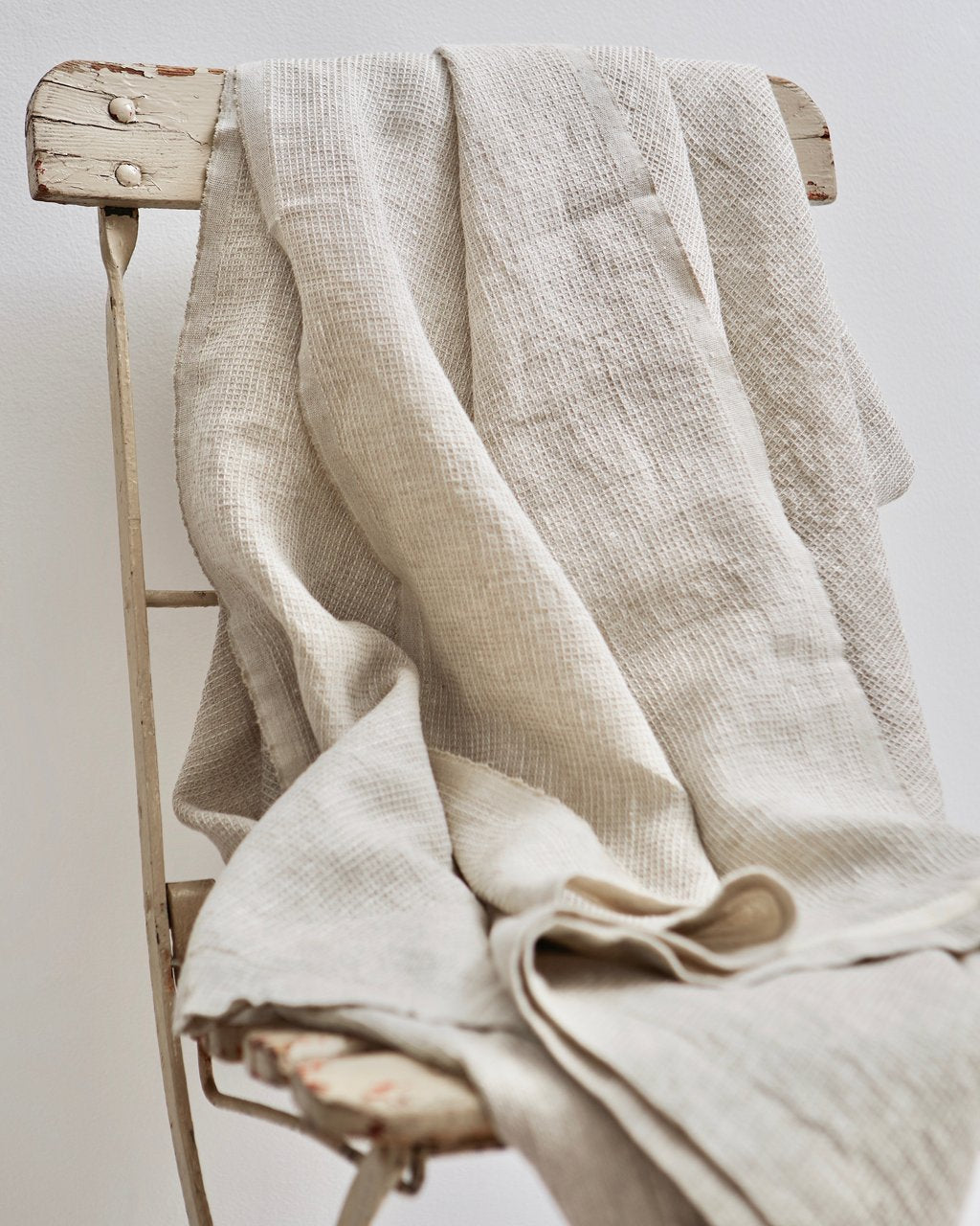 Linen Washed Waffle Throw - Natural