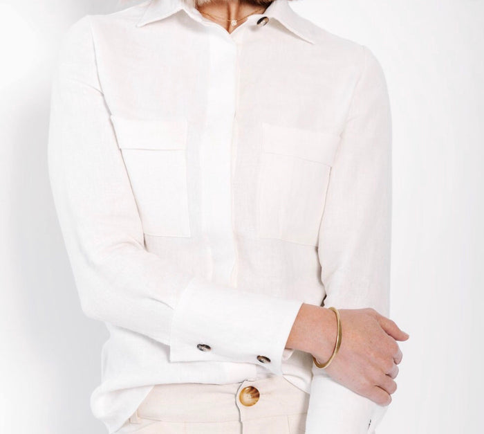 BOUTONNE - James Button Up Blouse - White Linen