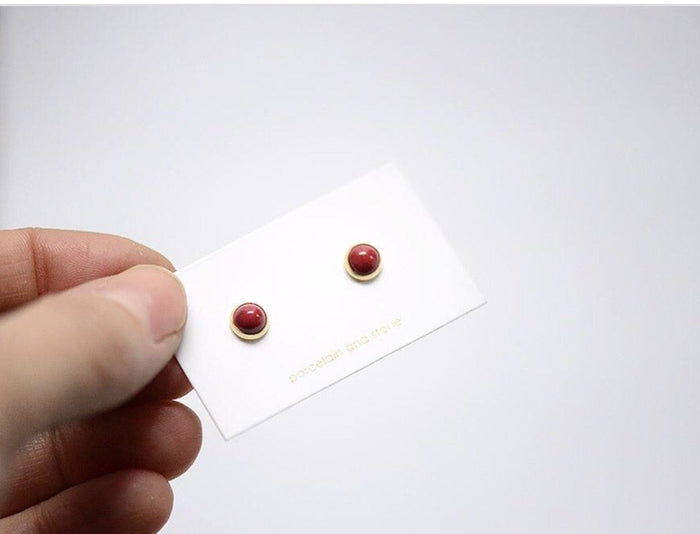 Porcelain and Stone Mini Heritage Stud
