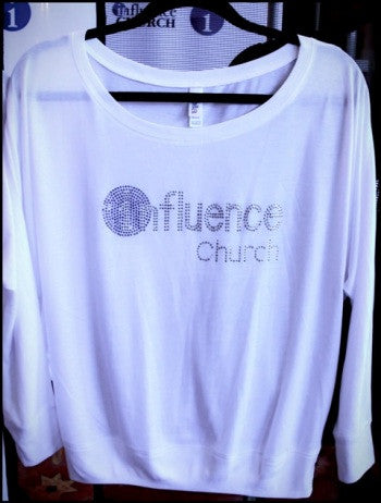 Womens Influence Long Sleeve White Shirt