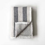 Charcoal Stripe Linen Blanket