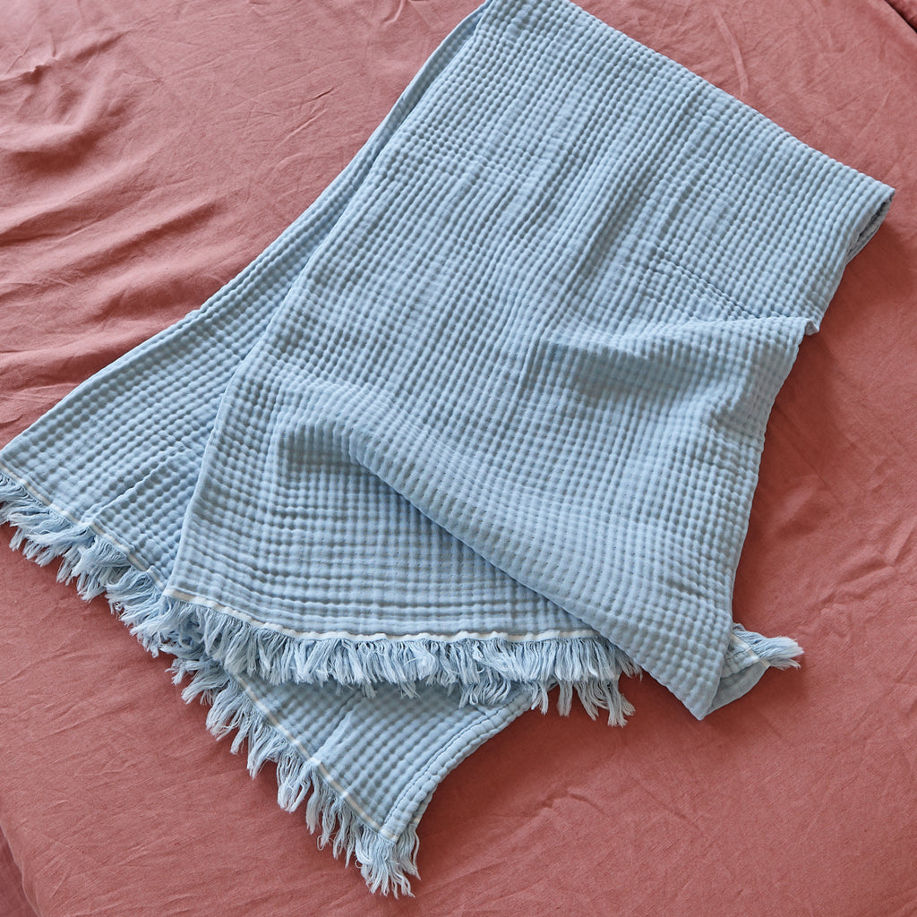 Hamptons Baby Blue Cotton Throw