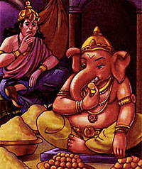 Kubera invited Ganesh for feast