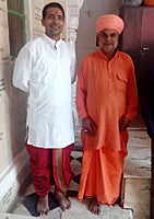 Mayank Goyal with Mahant of Pushkar temple