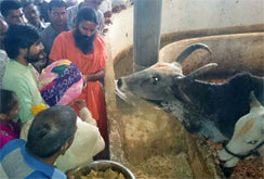 Eshwar Bhakti priest with Baba Ramdev