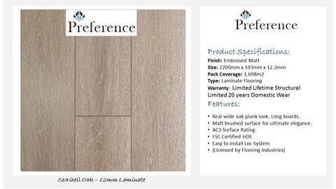 12mm Laminate Flooring - Seashell