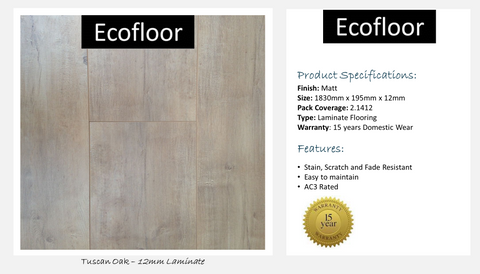 12mm Laminate Flooring - Tuscan Oak