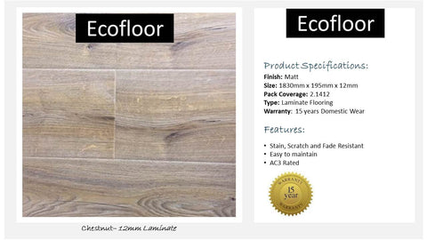 12mm Laminate Flooring - Chestnut