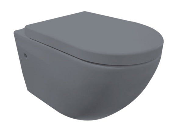 'Molina' Toilet bowl matt gray including toilet seat