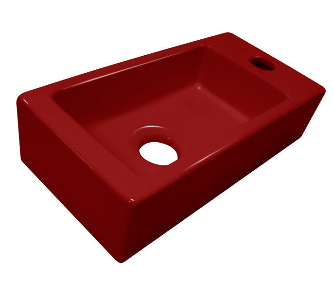 Ceramic Fountain sink 'Mini-Block' gloss red, Right