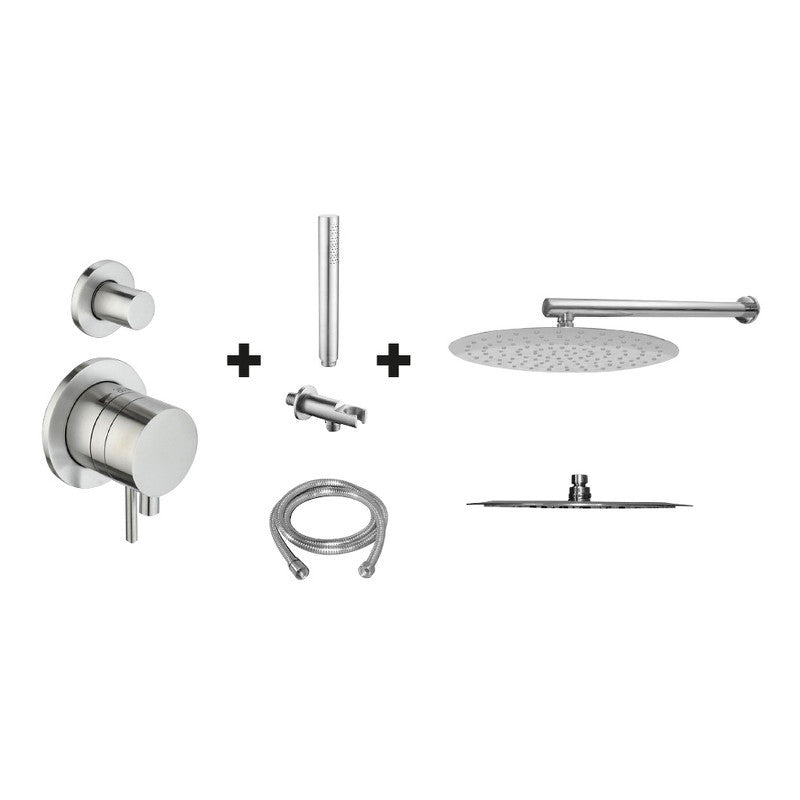 Ore Push & Pull Stainless Rain Shower Set wall mount