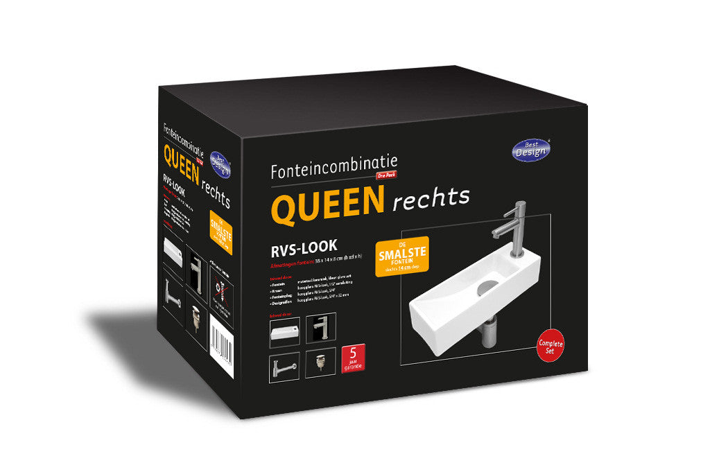 Ceramic Sink Fountain One Pack 'Queen Right' SS look