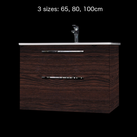 'Winner' Vanity and Sink - Oak Dark Brown