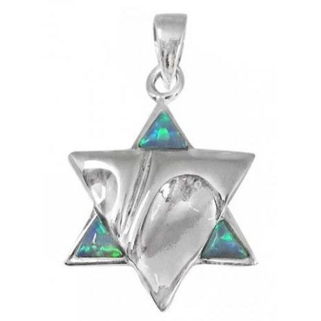 Sleek Opal and Silver Star Of David Pendant