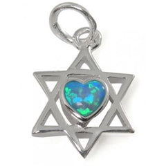 Sterling Silver Star Of David with Blue and Green Opal Heart