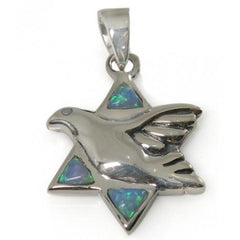 Star Of David Pendant With Opal and Dove