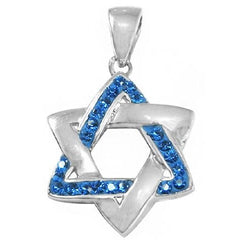 Interwoven Star Of David Blue Crystals and Silver Pendant