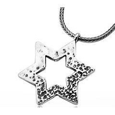 Hammered Sterling Silver Star Of David Necklace