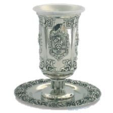Silver Plated Kiddush Cup with Columns and Grapes
