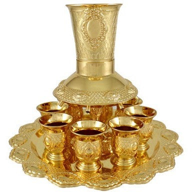 Gold Plated Kiddush Fountain Set