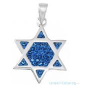 Modern Star Of David Triangles With Blue and White Crystals