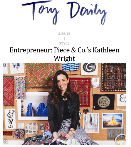 Tory Daily - Entrepreneur: Piece & Co.'s Kathleen Wright