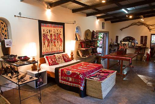 Tribal textiles decorated room