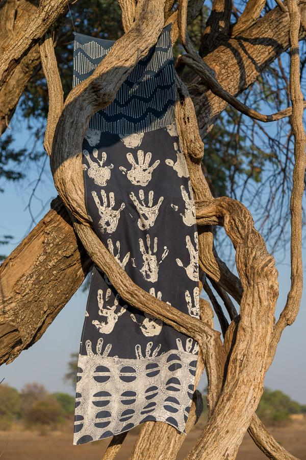 Hand made african print table Runners with indigo shades
