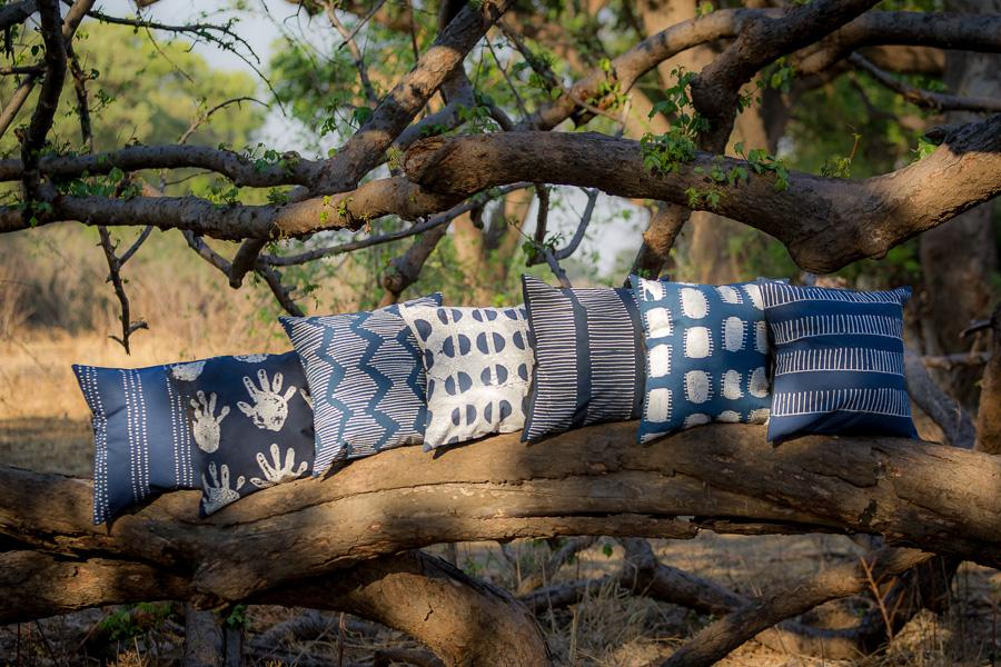 African print pillow in indigo