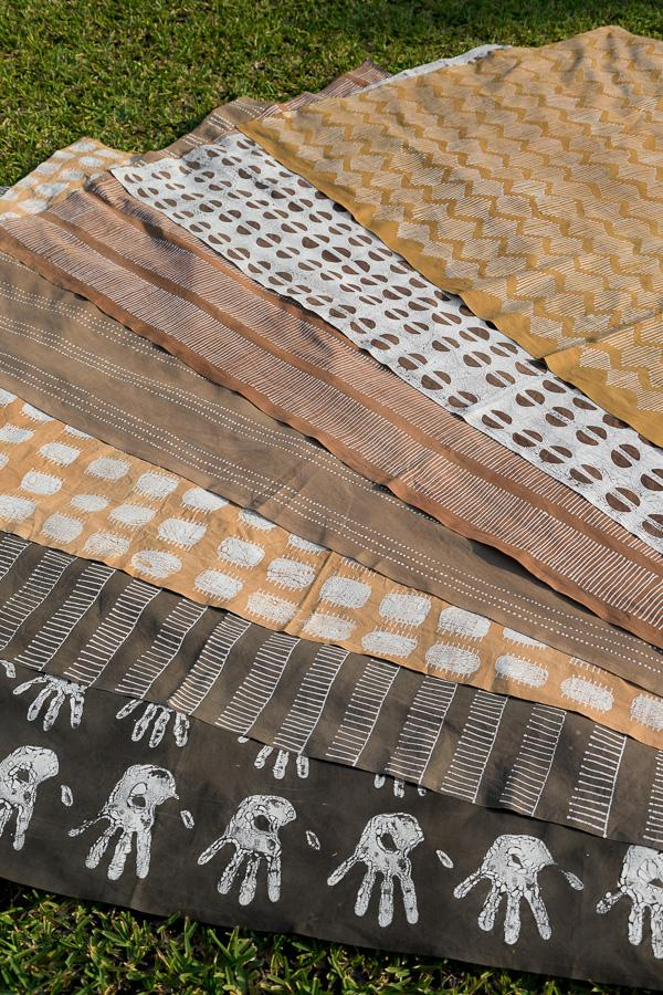 Hand made african print table Runners with handprint
