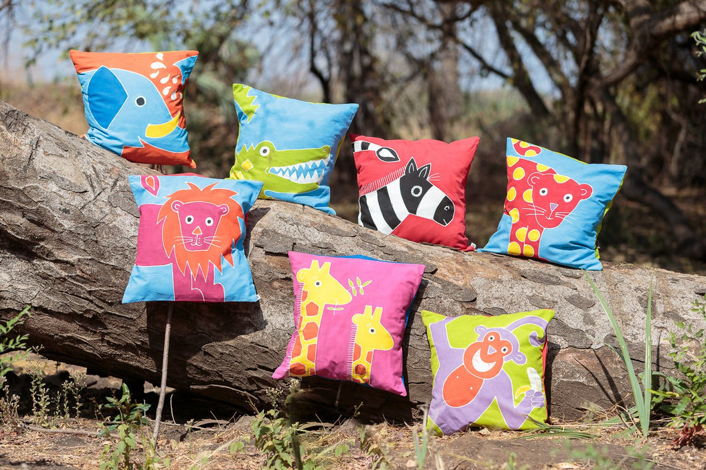 Kids Cushion Covers with lion design handmade in Africa