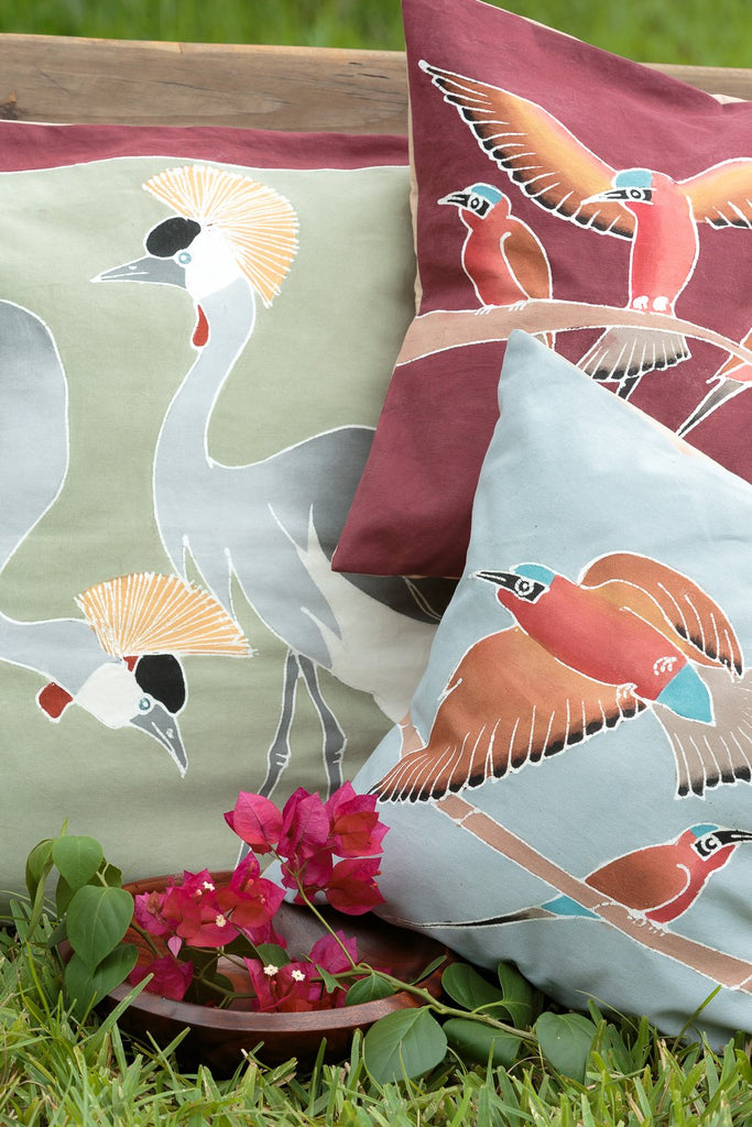 African cushion cover decorated with crowned crane design