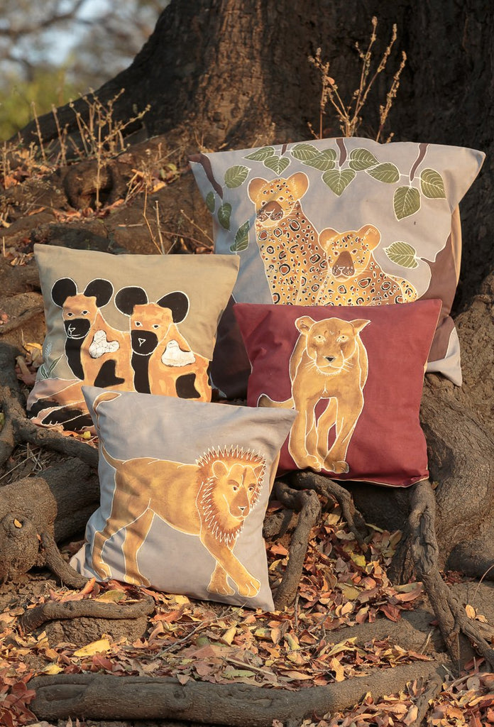 African hand-painted cushion cover with lion carnivore