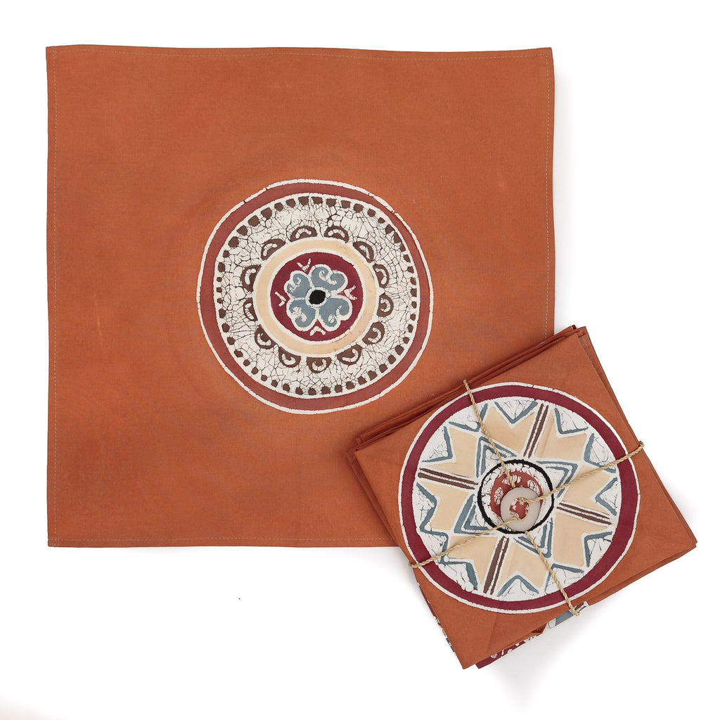 Hand-painted Napkins with smoke African Circles