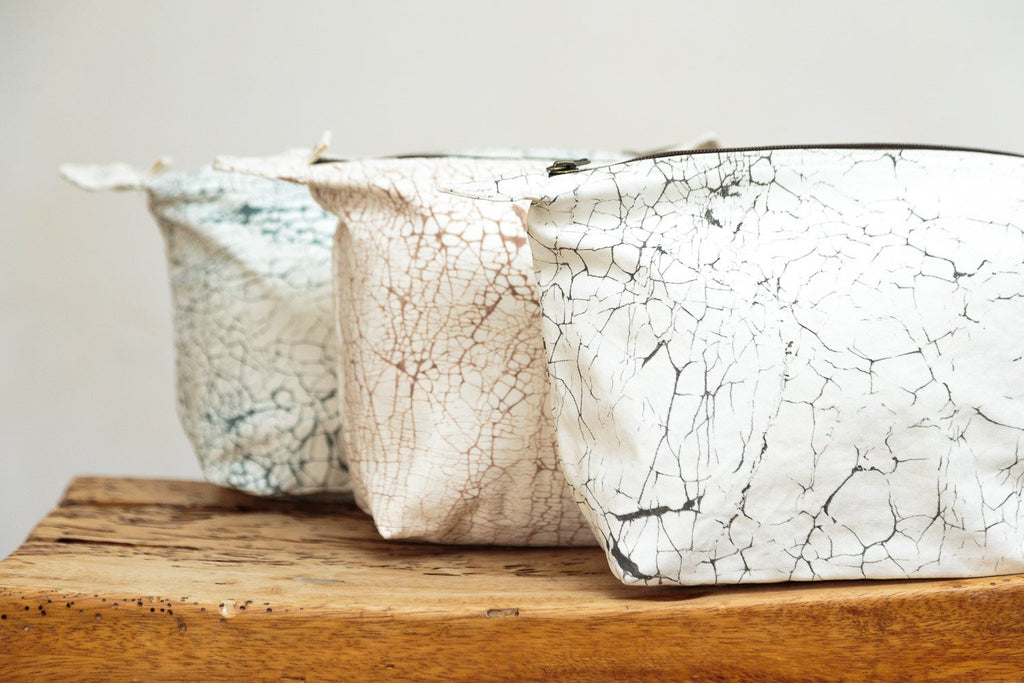 Handmade washbag with crackles by Tribal Textiles