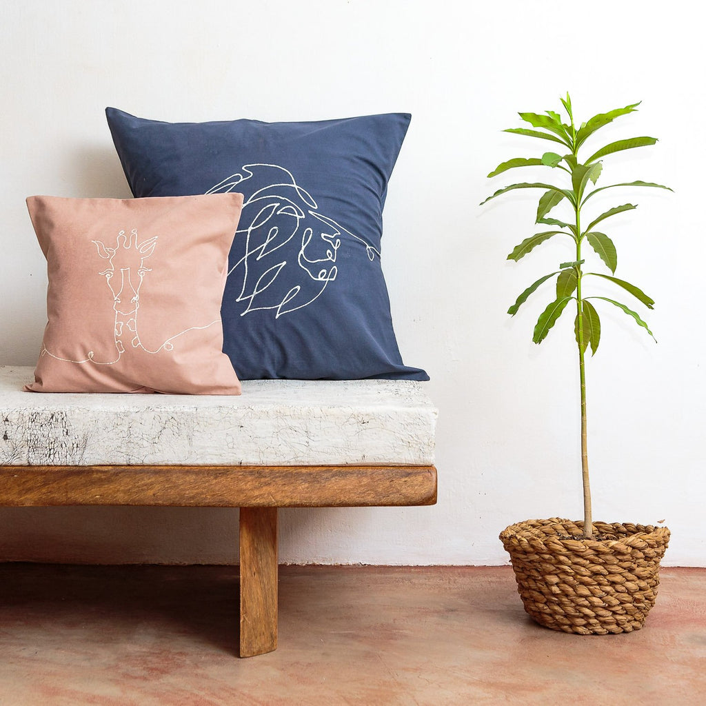 Cushion Cover - Wild Lines Lion Indigo